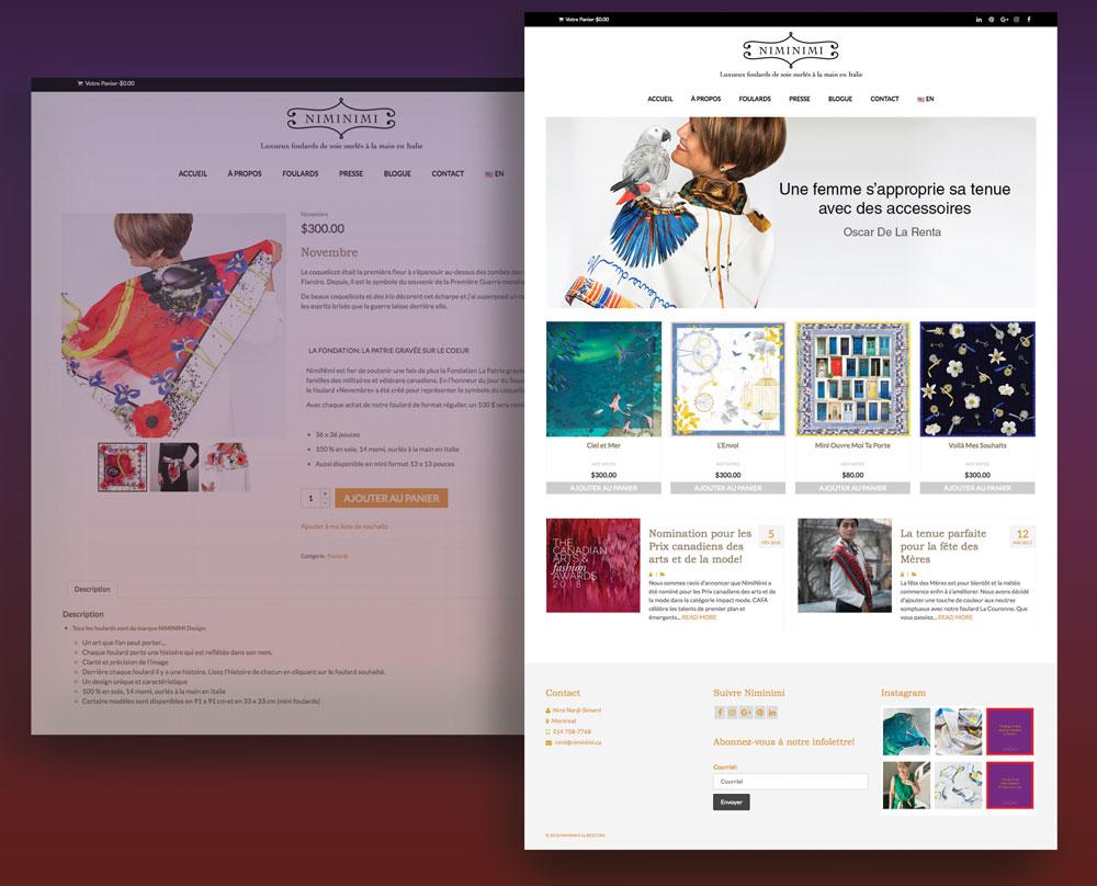 Site internet WooCommerce de Niminimi réalisé par l'Agence BeeCom